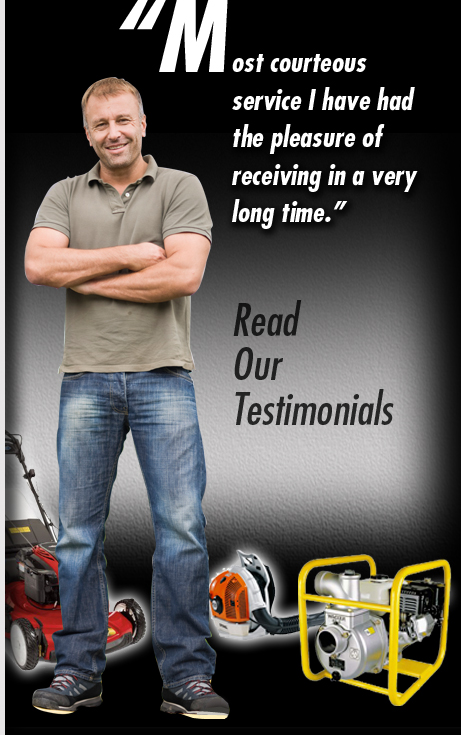 Read our testimonials. man surrounded by lawn equipment
